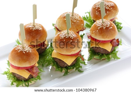 mini hamburgers, sliders - stock photo