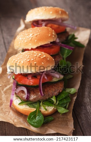 Mini hamburgers with tomato and onion on wooden board - stock photo