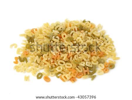 Mini letters pasta isolated on white background - stock photo