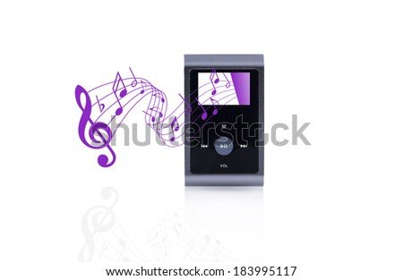 Mini MP3 portable Music isolated with pink pentagram - stock photo