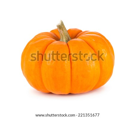Mini orange pumpkin isolated on a white background. - stock photo