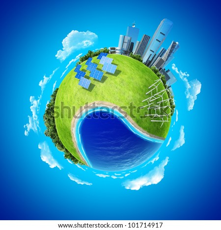 Mini planet concept. City, ocean, forest, wind turbines, solar batteries, sea coast and fresh green field. Earth collection. - stock photo