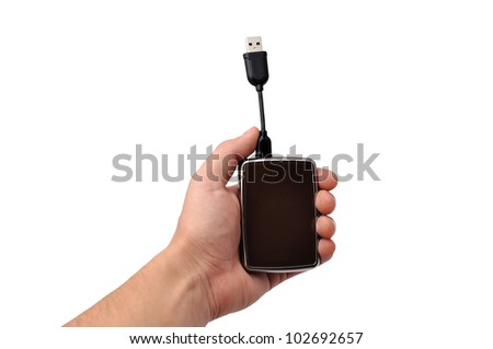 mini  portable hdd  on white background - stock photo