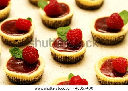 Mini Raspberry cheesecakes - stock photo
