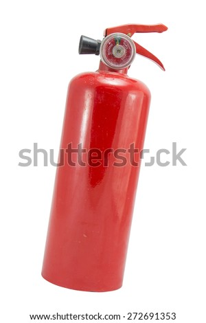 mini red portable fire extinguisher on white background - stock photo