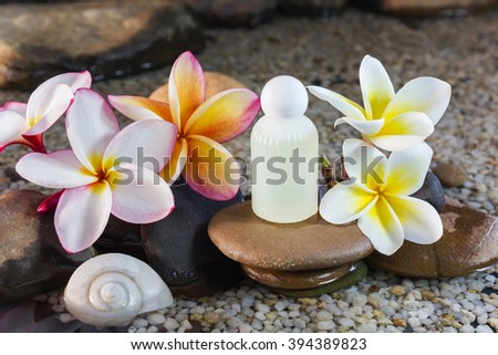 Mini set of bubble bath shower gel liquid with flowers and pebble on waterfall rock  and copy sapce - stock photo