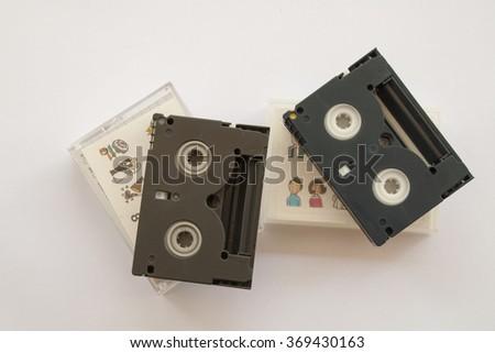 mini tape cassette for older video - stock photo