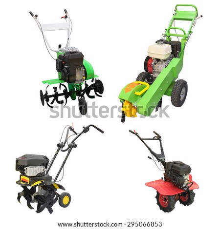 mini tractor isolated under the white background - stock photo