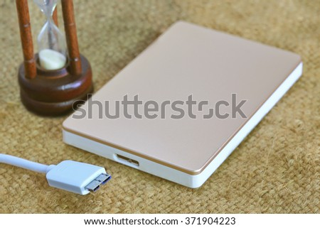 Mini USB 3.0 plug and socket on external device for remember memory - stock photo