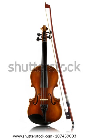 mini violin and bow isolated on  white background - stock photo