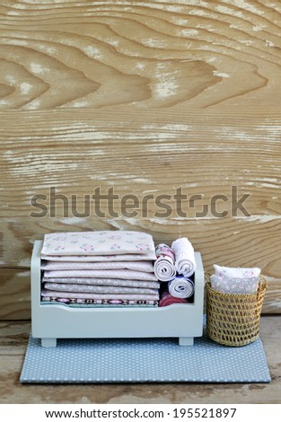 Mini wooden toy furniture for children to decorates  bedroom. - stock photo