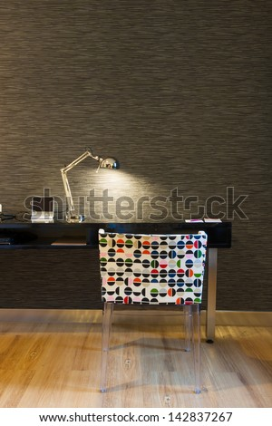 mini working corner in modern style hotel room, Bangkok, Thailand. - stock photo