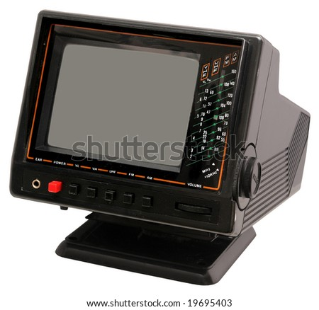 Miniature B&W TV set - stock photo