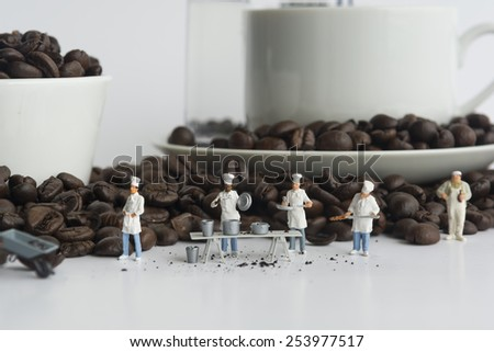 Miniature Chef Workers in Conceptual Food Imagery With coffee cup - stock photo