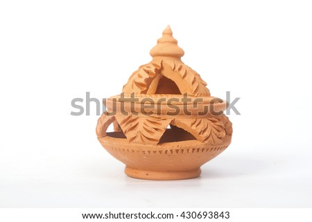 Miniature clay pottery Thai handicraft souvenir in koh Kret island, thailand - stock photo