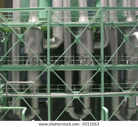 Miniature Factory -- partial view of a toy sized model production plant - stock photo
