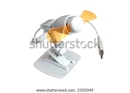 miniature fan plugs into usb port includes clipping path - stock photo