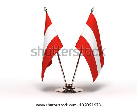 Miniature Flag of Austria (Isolated with clipping path) - stock photo