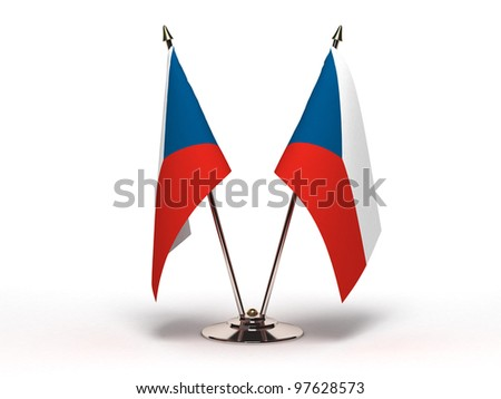 Miniature Flag of Czech Republic (Isolated with clipping path) - stock photo