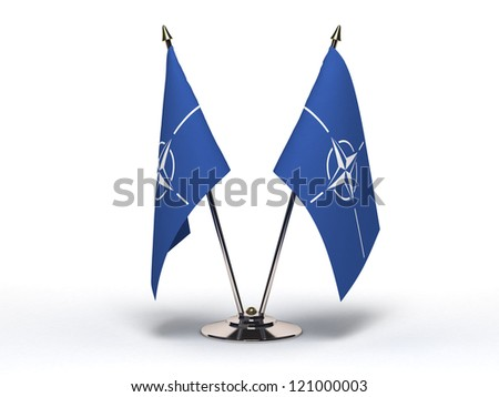 Miniature Flag of NATO (Isolated with clipping path) - stock photo