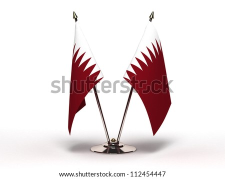 Miniature Flag of Qatar (Isolated with clipping path) - stock photo