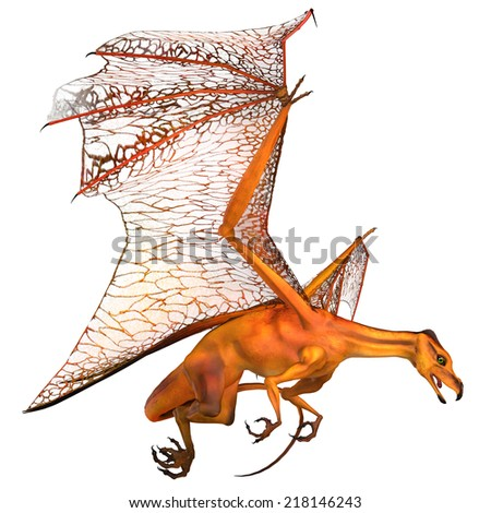 Miniature Golden Dragon - Dragons are mythical creatures known throughout history as having wings and breathing fire. - stock photo