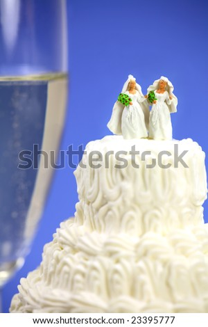 Miniature homosexual couple standing on top of a wedding cake. There is a glass of champagne in the background. Gay/same sex marriage concept. - stock photo