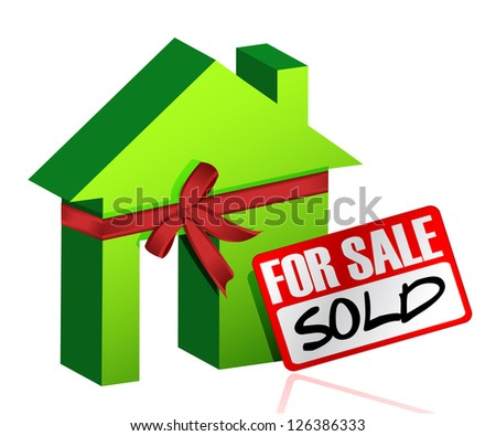 Miniature house with sign of sold or for sale illustration design - stock photo