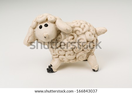 Miniature Model Sheep Photo (with clipping path) - stock photo