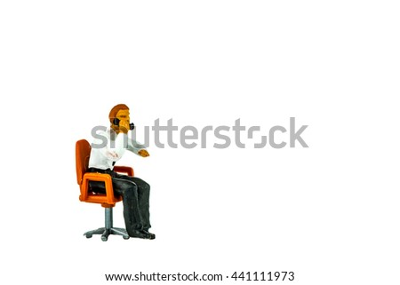 Miniature people office, worker, engineer worker, construction, cook, chief kitchen and traveler concept in variety action on white background with space for text - stock photo