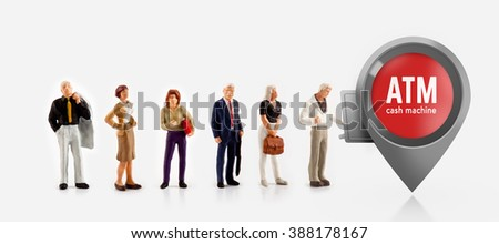 miniature people  - people stand in front a ATM machine for cash money - stock photo