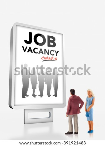 miniature people  - people standing in front of a job recruitment billboard - stock photo