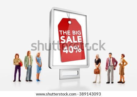 miniature people  - people standing in front of billboard with big sale ad - stock photo