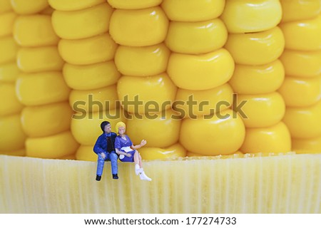 Miniature peoples with corn - stock photo