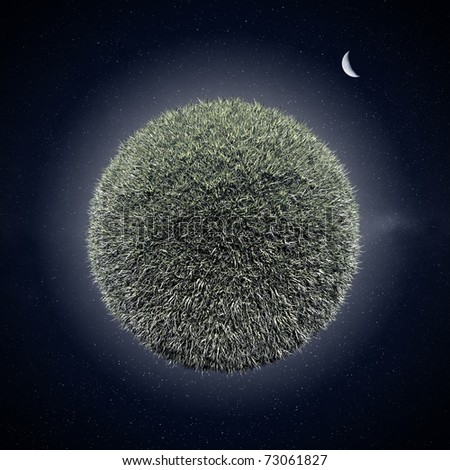 Miniature planet with grass vegetation, night-time - stock photo