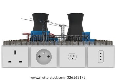 Miniature power plant with sockets - stock photo