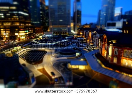 Miniature works for Tokyo Station at Tokyo, Japan - stock photo