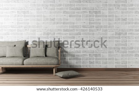 Minimal and loft design living room interior with sofa and brick wall, 3d rendering - stock photo