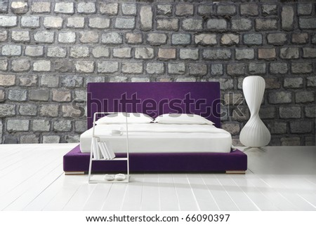 minimal bedroom - stock photo