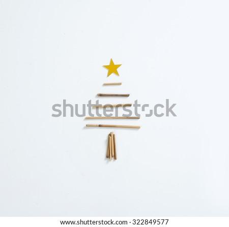MINIMAL CHRISTMAS CARD - stock photo