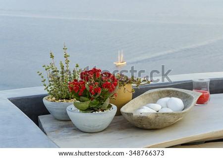 Minimal decoration on a balcony table at Oia village. Santorini - Greece - stock photo