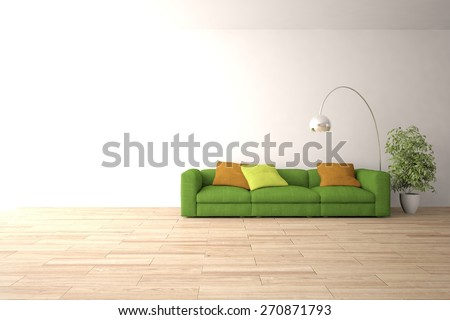minimal interior design of modern house-3d rendering - stock photo