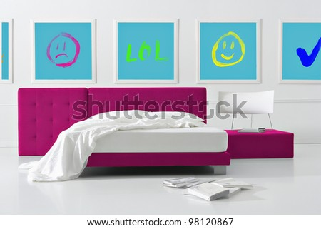 minimal social network bedroom - stock photo
