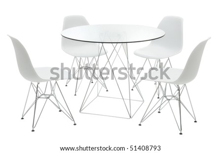 minimal table with chairs - stock photo