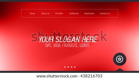 Minimal Website Home Page Design with Slider background and space for text in header and footer. - stock photo