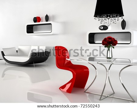 Minimalism and baroque Furniture in interior. Modern sofa, red Chair, Table, chandelier, vases - stock photo