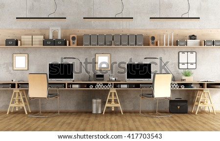 Minimalist architectural office with two workstation - 3d rendering - stock photo