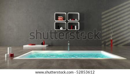 minimalist bathroom with fashion bathtub on concrete floor - stock photo
