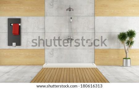 Minimalist bathroom with shower and radiator - rendering - stock photo