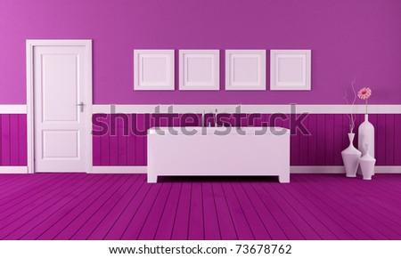 minimalist bathtub in a retro bathroom  with purple plank wood floor - rendering - stock photo